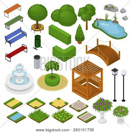 Park Vector Parkland With Green Garden Trees Grass And Fountain Or Pond In City Illustration Set Of