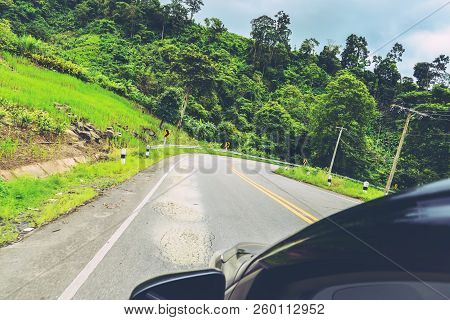 Landscape Road Paved Road Rural Roadside View Mountain View. Road Transport Road. Car Running On The