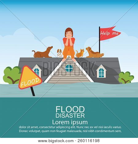 Sad Woman Sitting On Roof Of House With Her Pet After Water Flood Emergency And Waiting For Helping,