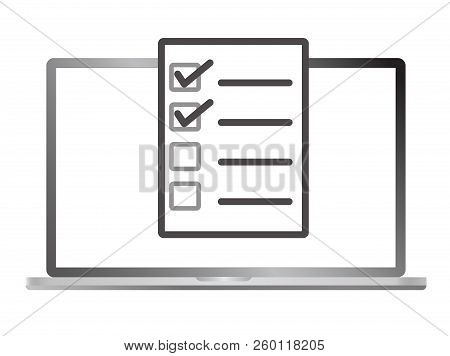 Survey On Laptop Isolated On White Background. Online Form Icon. Flat Style. Online Form Survey Icon