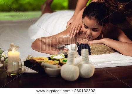 Portrait Of Asian Woman Is Relaxing In Spa Massage., Thai Massage.