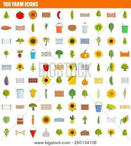 100 Farm Icon Set. Flat Set Of 100 Farm Icons For Web Design