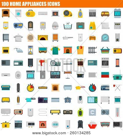 100 Home Appliances Icon Set. Flat Set Of 100 Home Appliances Icons For Web Design