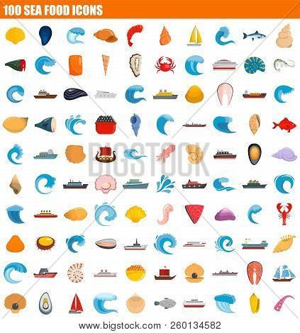 100 Sea Food Icon Set. Flat Set Of 100 Sea Food Icons For Web Design