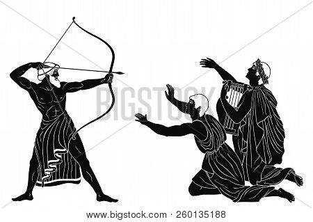 Mythological Story Of Homer. Odyssey Kills The Suitors Of Penilope. An Archer With Weapons In His Ha