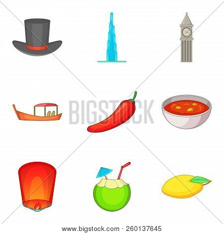 Mysterious World Icons Set. Cartoon Set Of 9 Mysterious World Icons For Web Isolated On White Backgr