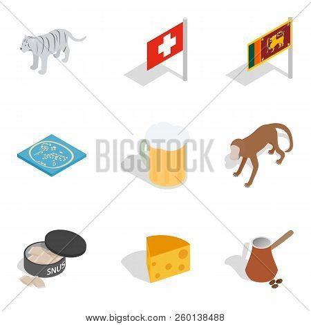 Worldwide Tour Icons Set. Isometric Set Of 9 Worldwide Tour Icons For Web Isolated On White Backgrou