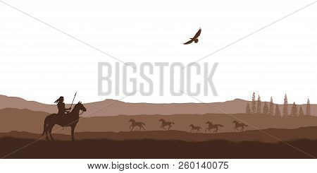 Silhouette Of Desert With Indian On Horse. Natural Panorama Of Wilderness Scenery. American Landscap
