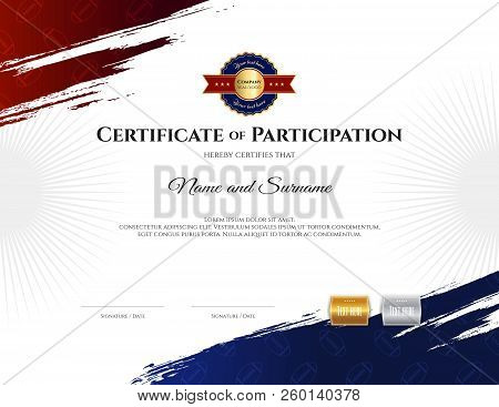 Certificate Template In Rugby Sport Theme With Border Frame, Diploma Design
