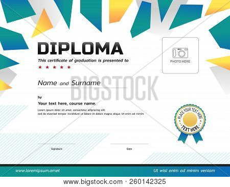 Kids Diploma Or Certificate Template With Award Ribbon And Photo Frame