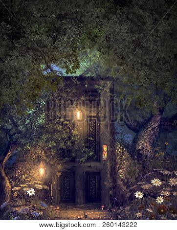 Concept Of A Magic Fantasy World Forest With A Hidden Door Illuminated By Lanterns, 3d Render Mixed