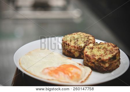 Broccoli Savory Cake Served With Fried Egg, Healthy Breakfast. Broccoli Cheese Bites (muffins), Doub