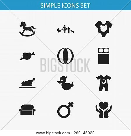 Set Of 12 Editable Kin Icons. Includes Symbols Such As Grill, Bodysuit, Heart Arrow And More. Can Be