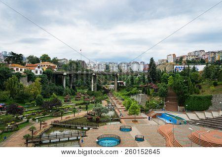 Trabzon, Turkey - June 2018: View Of  Zagnos Bridge & Valley Park In Trabzon City Center, Turkey. Tr