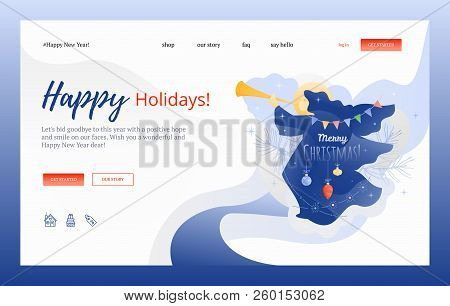 vector illustration of an angel blowing in trumpet with merry christmas words vector creative web