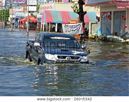 Car In The Flood