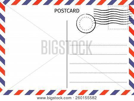 Postcard. Air Mail. Postal Card Illustration For Design. Travel Card Design. Postcard On White Backg
