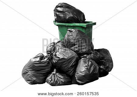 Bin Bag Garbage Green, Bin,trash, Garbage, Rubbish, Plastic Bags Pile Isolated On Background White,