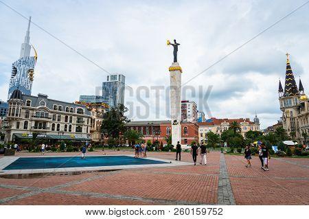 Batumi, Georgia - August 2018: Batumi City Center Europe Square City Scape. Batumi Is The Second-lar