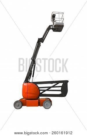 red industrial lifter isolated on white background poster