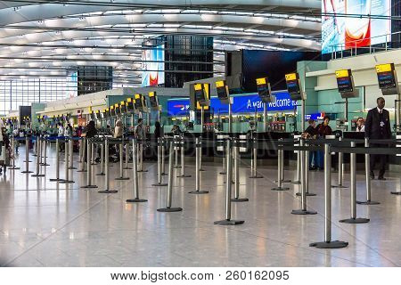 London, Uk - June 9, 2015: One Of Main Terminal Lounge Of London Heathrow Airport, The Busiest Airpo