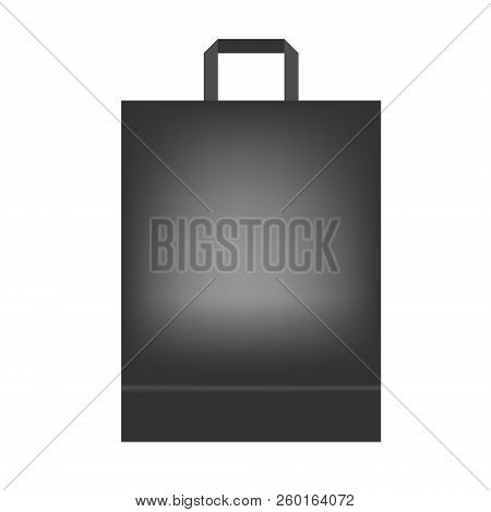 Black Shopping Or Merchandise Bag With Handle, Vector Mock Up. Package With Bottom Gusset Isolated O