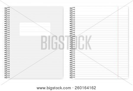 Wire Bound Lined Notebook, Realistic Vector Mockup. Metal Spiral Binding Note Book, Mock Up. Loose L