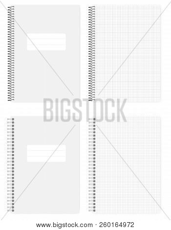 Wire And Spiral Spring Bound Grid Lined Notebook, Realistic Vector Mockup. A4 Size Squared Paper Not