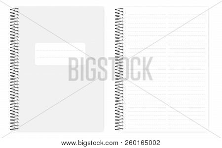 Two Column Dashed Line Notebook With Side Perforation Sheets, Realistic Vector Mockup. Wire Bound A4