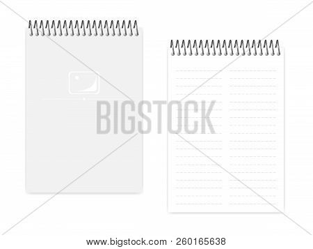 Two Column Dashed Line Top Spiral Notebook, Realistic Vector Mockup. Wire Bound A5 Size Notepad, Moc