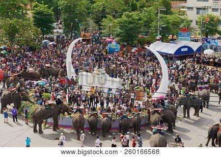 Surin, Thailand - November 15, 2013: Elephants Feeding At Elephant Buffet In Surin, Thailand. Annual