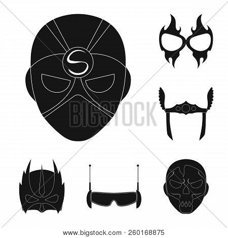 Isolated Object Of Hero And Mask Sign. Collection Of Hero And Superhero Stock Vector Illustration.