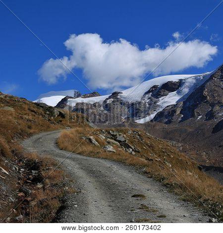 Findel Glacier And Trail. Landscape In Zermatt, Switzerland.