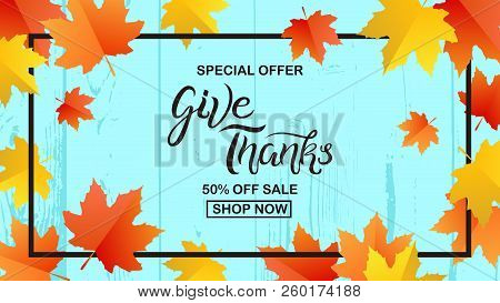 Thanksgiving Typography. Give Thanks Special Offer Sale Hand Drawn Lettering With Autumn Leaves Elem