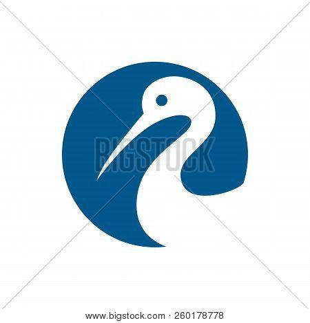Heron Logo Icon Isolated On White Background