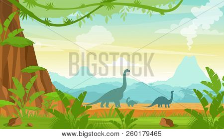 Vector Illustration Of Silhouette Of Dinosaurs On The Jurassic Period Landscape With Mountains, Volc