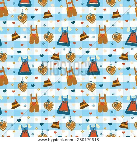Dirndl Dress And Lederhosen Oktoberfest Seamless Vector Pattern. Lebkuchenherz, Flowers, Hearts, Okt