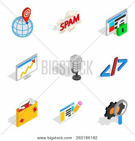 Online Contemporary Icons Set. Isometric Set Of 9 Online Contemporary Icons For Web Isolated On Whit