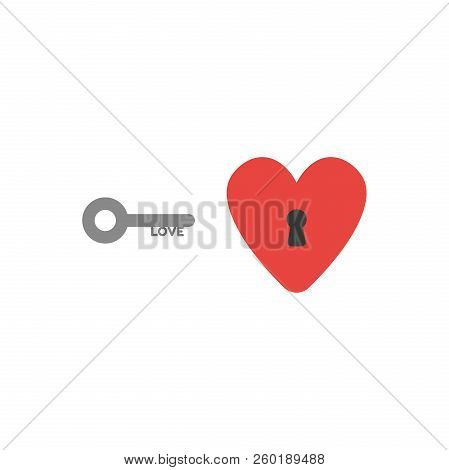 Flat Design Style Vector Illustration Concept Of Grey Love Key And Red Heart Symbol Icon With Black