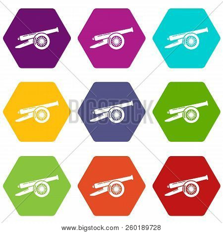 Enemy cannon icons 9 set coloful isolated on white for web poster
