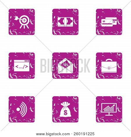 Wifi Deal Icons Set. Grunge Set Of 9 Wifi Deal Icons For Web Isolated On White Background