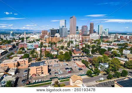 Rooftops And Crossing Streets Panoramic Wide View Of A Perfect Sunny Morning In The Mile High City -