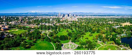 Panoramic Green Public Park Landscape Amazing Wide View Panorama Of The Entire City Park Of Denver ,
