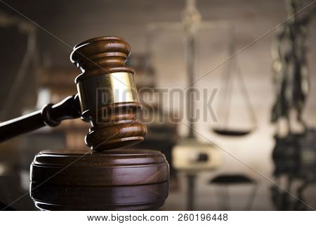 Law Theme. Courtroom Concept. Law Symbols Composition. Gavel, Balance, Statue Of Justice And Books.