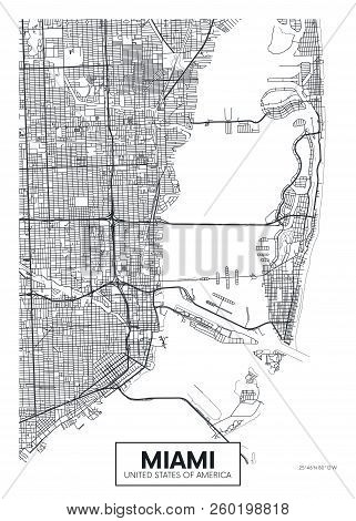 City Map Miami, Travel Vector Poster Design