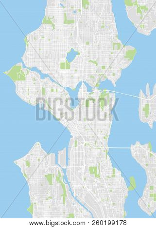 City Map Seattle, Color Detailed Plan, Vector Illustration