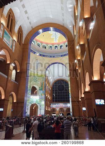 March 24, 2018, Aparecida, São Paulo, Brazil, Pilgrims Under Arches Of The Basilica Of Our Lady Apar