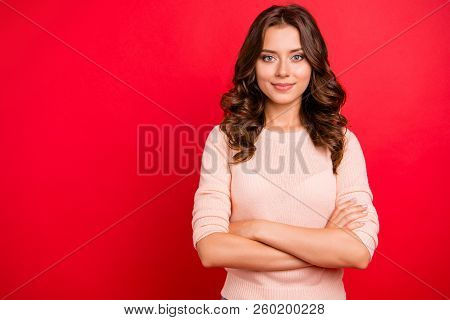 Portrait Of Gorgeous, Nice, Stunning, Adorable, Good-looking Woman With Modern Hairstyle Fold Cros H
