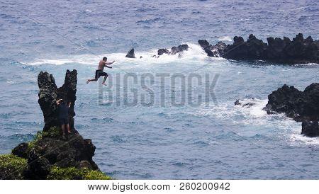 Maui, Hawaii, July 25. Maui On July 25, 2018, In Hawaii, Usa. A Cliff Jumper At Waianapanapa State P