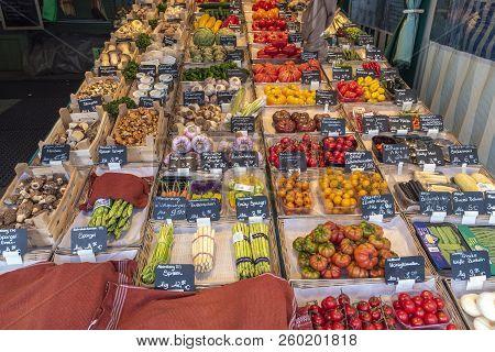 Munich, Germany - May 13, 2017: Munich Germany, Vegetables Shop At Victuals Market (viktualienmarkt)